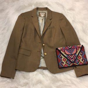 J. Crew khaki blazer with gold blazer